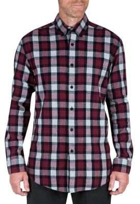 Haggar Plaid Flannel Button-Down Shirt