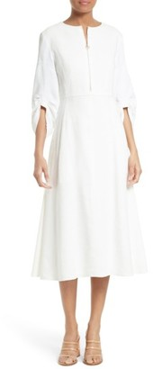 Women's Tibi Marta Smocked Sleeve Linen Blend Midi Dress $650 thestylecure.com