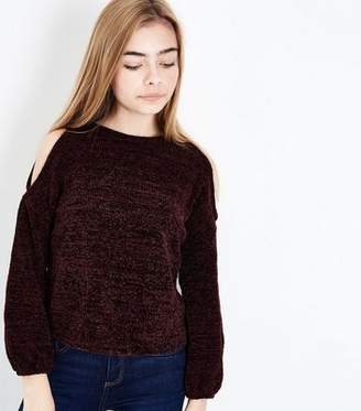 New Look Girls Burgundy Chenille Cold Shoulder Jumper