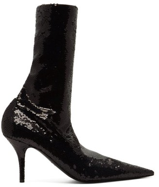 Balenciaga Knife Sequinned Booties - Womens - Black