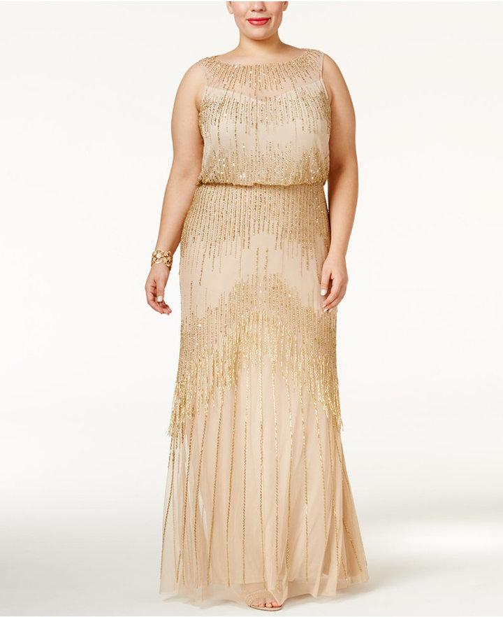 Adrianna PapellAdrianna Papell Plus Size Beaded Blouson Gown