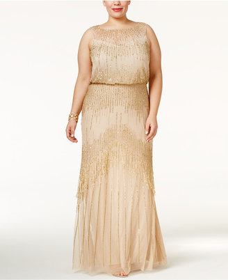 Adrianna Papell Plus Size Beaded Blouson Gown $379 thestylecure.com