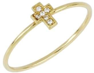 Bony Levy 18K Gold Diamond Cross Ring - 0.02 ctw