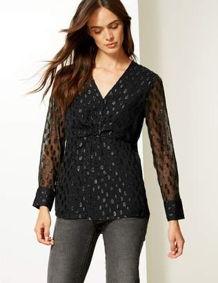 Marks and Spencer Sparkly Twisted Front Long Sleeve Blouse