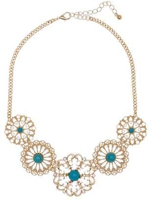 Natasha Accessories Filigree Glass & Stone Accented Bib Necklace
