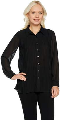 Joan Rivers Classics Collection Joan Rivers Pleated Blouse with Long Sleeves