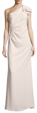 Carmen Marc ValvoPleated One Shoulder Gown