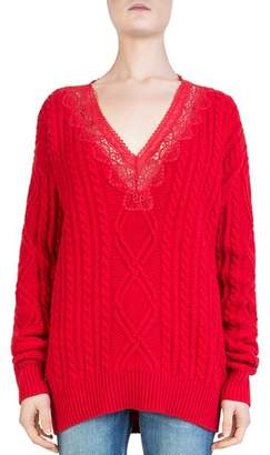 The Kooples Lace-Inset Cable-Knit Sweater