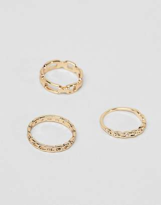 Asos Design DESIGN pack of 3 rings with faceted and twist detail in gold