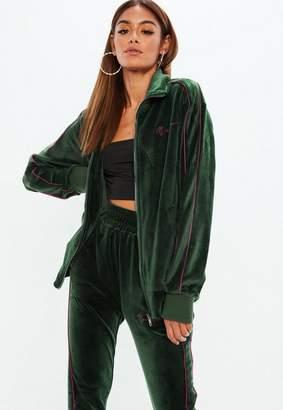 Missguided x Green Velour Track Zip Through Jacket