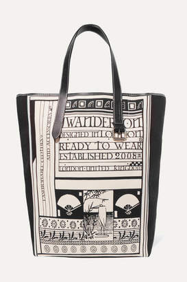 Leather-trimmed Printed Canvas Tote - White