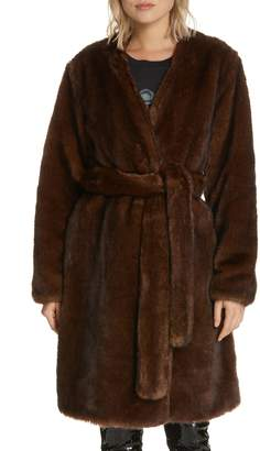 Frame Faux Mink Fur Robe Coat