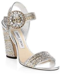 Jimmy Choo Mischa Metallic Ankle-Strap Sandals