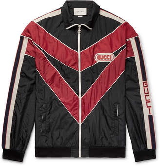 Gucci Appliqued Striped Shell Jacket - Black