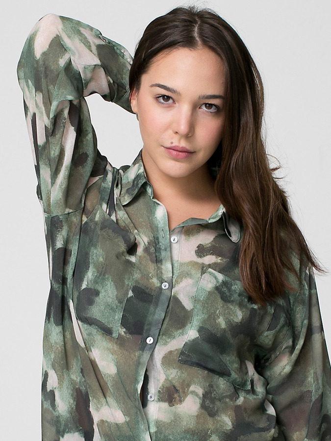 American Apparel Camouflage Chiffon Oversized Button-Up