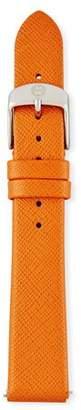 MICHELE Thin Saffiano Leather Watch Strap, Burnt Orange $80 thestylecure.com