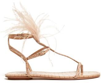 Aquazzura Ponza Feather Embellished Leather Sandals - Womens - Nude