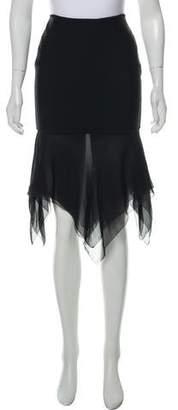 Herve Leger Silk Trim Midi Skirt