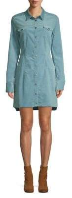 Free People Chambray Button Front Shirt Dress