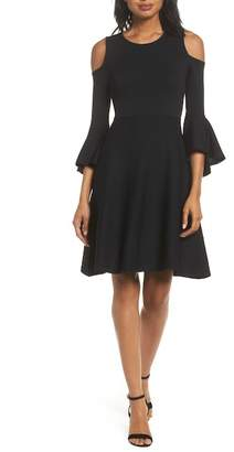 Eliza J Cold Shoulder Bell Sleeve Fit & Flare Dress