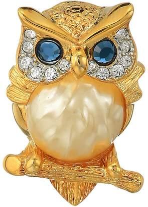 Kenneth Jay Lane Gold/Tortoise Rhine Pearl Body/Saphire Eyes Owl Pin Brooches Pins