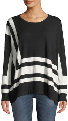 Neiman Marcus Oversized Angle-Striped Sweater