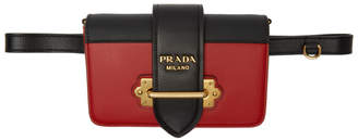 Prada Black and Red Cahier Belt Pouch