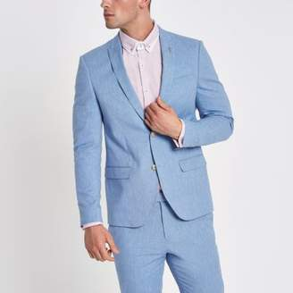 River Island Mens Light blue skinny fit suit jacket with linen