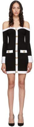 Balmain Black Velvet Contrast Dress