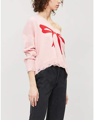 Wildfox Couture Bow intarsia-motif knitted jumper