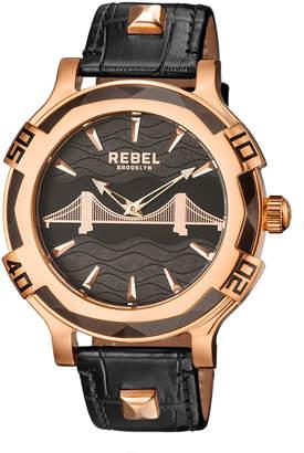 Rebel Brooklyn Men's 48mm Brooklyn Bridge Leather Watch, Rose/Black