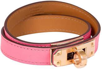 One Kings Lane Vintage HermAs Rose Azalee Double Kelly Bracelet - Vintage Lux