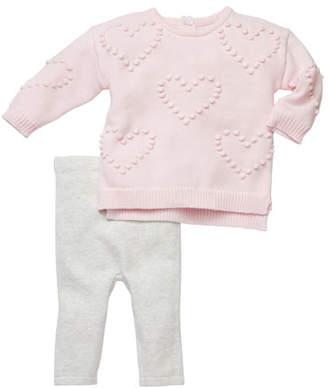 Miniclasix Heart Pompom Sweater w/ Leggings, Size 3-6 Months