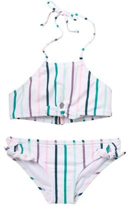 RAISINS Lola Stripe Halter Neck Top & Bottom Set (Big Girls)