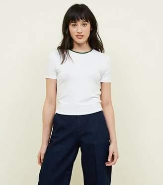 New Look White Ribbed Ringer T-Shirt