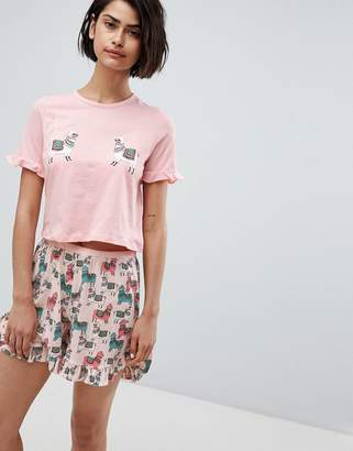 Vero Moda Llama Print Pajama Top Two-Piece