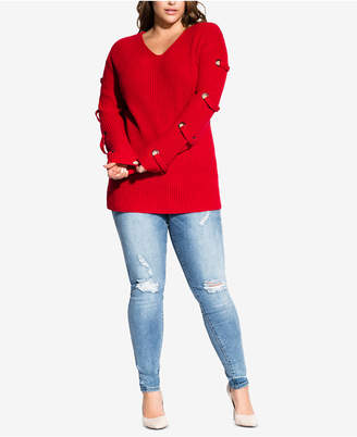 City Chic Trendy Plus Size Grommet-Sleeved Sweater