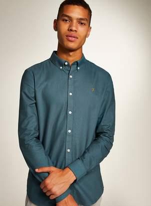Topman FARAH Ocean Blue 'Brewer' Slim Long Sleeve Shirt*
