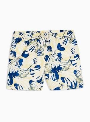 Selected Mens Yellow 'Tokyo' Print Swim Shorts