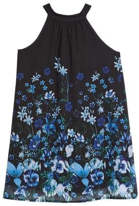 Elisa B Print Chiffon Halter Dress