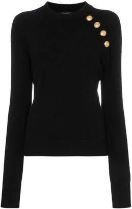 Balmain buttoned knitted wool cashmere blend jumper
