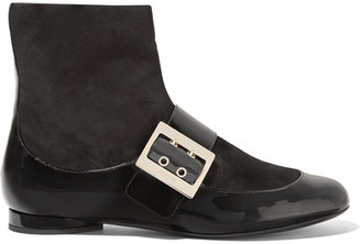 Lanvin - Paneled Patent-leather And Suede Boots - Black $1,095 thestylecure.com