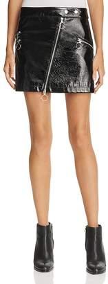 Rebecca Minkoff Elly Faux-Patent Zipper Mini Skirt