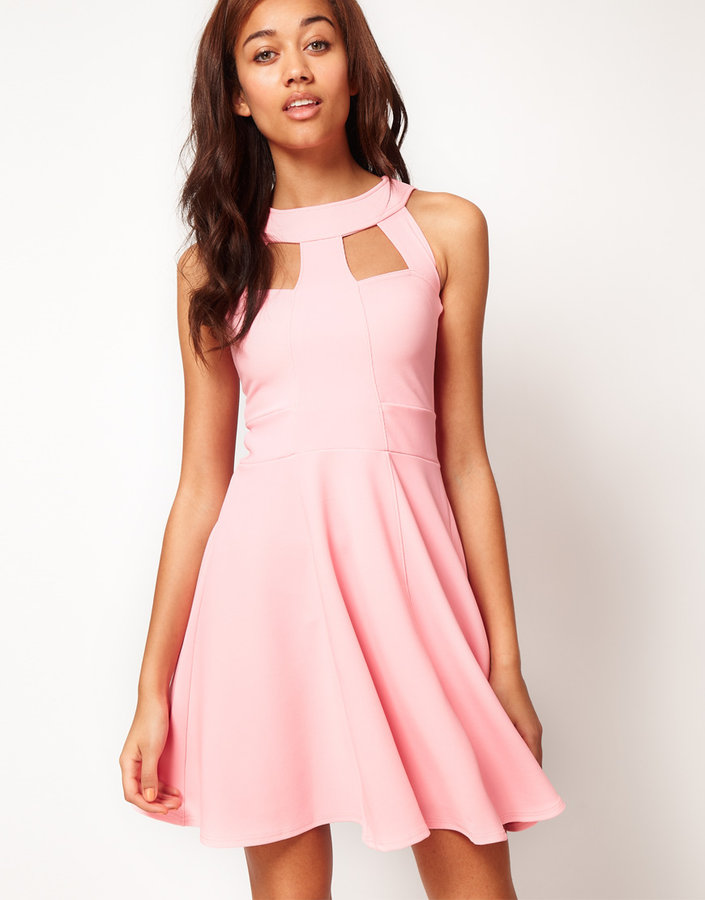 River Island Sleeveless Skater Dress With Cut Out Detail