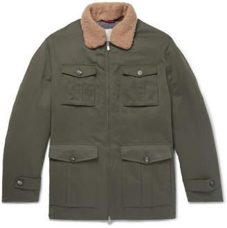 Brunello Cucinelli Shearling-Trimmed Microfibre-Shell Down Field Jacket