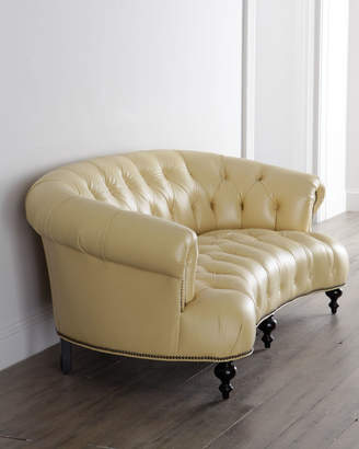 """Old Hickory Tannery Lenoir Leather Tufted Sofa 70.5"""""""