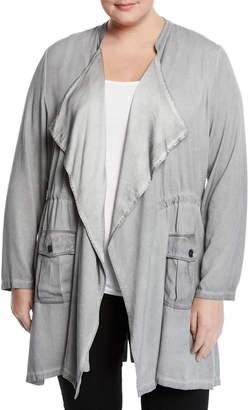 XCVI Chandler Drape-Front Stretch-Twill Jacket w/ Patch Pockets, Plus Size