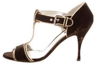 Dolce & Gabbana Velvet Ankle Strap Sandals