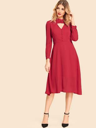 SheinShein Button Placket V Neck Dress