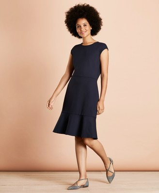Brooks Brothers Ponte-Knit Flounce-Hem Dress